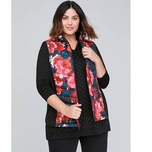 Lane Bryant Livi Active Floral Puffer Vest